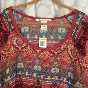 NWT Woman plus size multicolored bo-Ho banded top